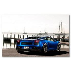 Αφίσα (lamborghini, Gallardo, μπλε, αυτοκίνητο, μαύρο, λευκό, άσπρο)